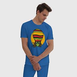 Пижама хлопковая мужская Пришелец Регги цвета синий — фото 2