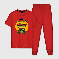 Пижама хлопковая мужская Пришелец Регги цвета красный — фото 1