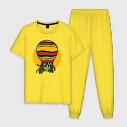 Пижама хлопковая мужская Пришелец Регги цвета желтый — фото 1
