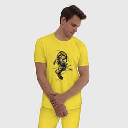 Пижама хлопковая мужская Темная Энергия цвета желтый — фото 2