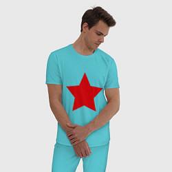 Пижама хлопковая мужская Звезда цвета бирюзовый — фото 2
