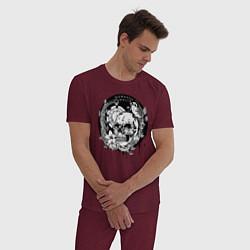 Пижама хлопковая мужская Memento mori цвета меланж-бордовый — фото 2