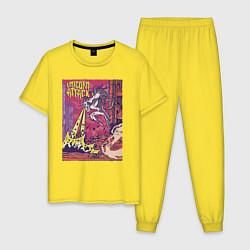 Пижама хлопковая мужская Единорог Атакует цвета желтый — фото 1