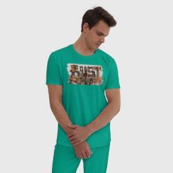 Пижама хлопковая мужская Rust цвета зеленый — фото 2