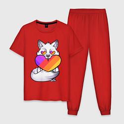 Пижама хлопковая мужская Лисёнок Likee цвета красный — фото 1