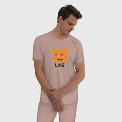 Пижама хлопковая мужская LIKEE: Like Video цвета пыльно-розовый — фото 2