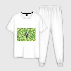 Пижама хлопковая мужская Игуана нежить цвета белый — фото 1