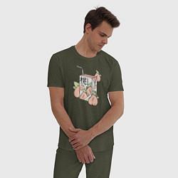 Пижама хлопковая мужская Персиковый Сок цвета меланж-хаки — фото 2