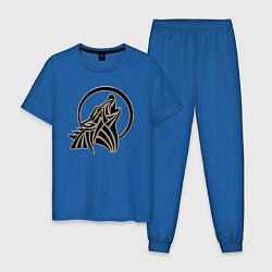 Пижама хлопковая мужская Metallized Wolf цвета синий — фото 1
