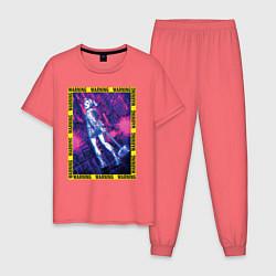 Пижама хлопковая мужская WARNING цвета коралловый — фото 1