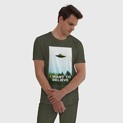 Пижама хлопковая мужская I WANT TO BELIEVE цвета меланж-хаки — фото 2