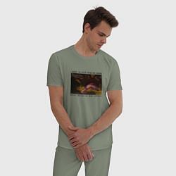 Пижама хлопковая мужская I want to sleep upon my hoard цвета авокадо — фото 2