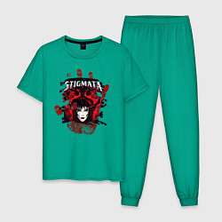 Пижама хлопковая мужская Stignata цвета зеленый — фото 1