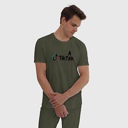 Пижама хлопковая мужская TikTak цвета меланж-хаки — фото 2