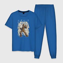 Пижама хлопковая мужская Chewie цвета синий — фото 1