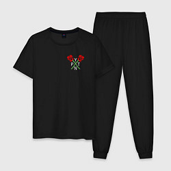 Пижама хлопковая мужская Payton Moormeier цвета черный — фото 1