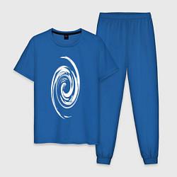 Пижама хлопковая мужская Спираль цвета синий — фото 1