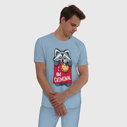 Пижама хлопковая мужская Очаровательный воришка цвета мягкое небо — фото 2