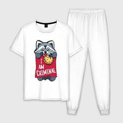 Пижама хлопковая мужская Очаровательный воришка цвета белый — фото 1