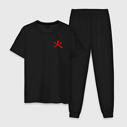 Пижама хлопковая мужская HOKAGE NARUTO НА СПИНЕ цвета черный — фото 1