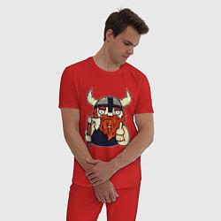 Пижама хлопковая мужская Викинг цвета красный — фото 2