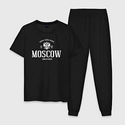 Пижама хлопковая мужская Москва Born in Russia цвета черный — фото 1