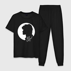Пижама хлопковая мужская ЦОЙ - КИНО цвета черный — фото 1