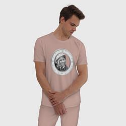 Пижама хлопковая мужская Гагарин Восток 1 цвета пыльно-розовый — фото 2