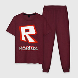 Пижама хлопковая мужская R цвета меланж-бордовый — фото 1