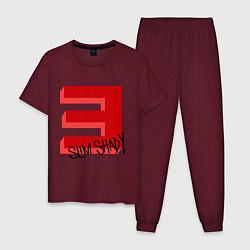 Пижама хлопковая мужская Slim Shady цвета меланж-бордовый — фото 1