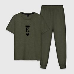 Пижама хлопковая мужская Король парная цвета меланж-хаки — фото 1