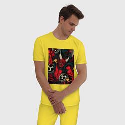 Пижама хлопковая мужская God of thunder цвета желтый — фото 2