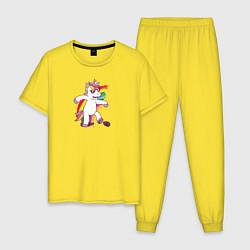 Пижама хлопковая мужская Единорог алкоголик цвета желтый — фото 1