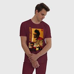 Пижама хлопковая мужская BLINDING LIGHTS цвета меланж-бордовый — фото 2