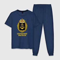 Пижама хлопковая мужская Северный флот ВМФ России цвета тёмно-синий — фото 1