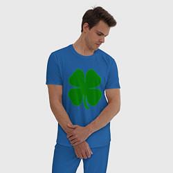 Пижама хлопковая мужская Символ удачи цвета синий — фото 2