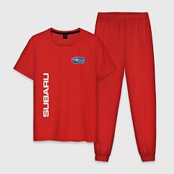 Пижама хлопковая мужская SUBARU цвета красный — фото 1