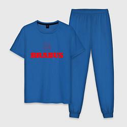 Пижама хлопковая мужская Brabus цвета синий — фото 1