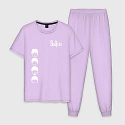 Пижама хлопковая мужская Beatles цвета лаванда — фото 1