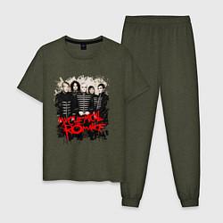 Пижама хлопковая мужская My Chemical Romance цвета меланж-хаки — фото 1