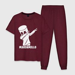 Пижама хлопковая мужская MARSHMELLO цвета меланж-бордовый — фото 1