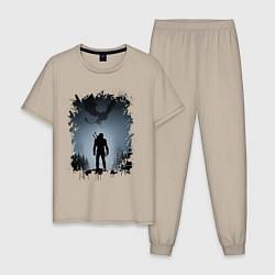 Пижама хлопковая мужская ВЕДЬМАК цвета миндальный — фото 1