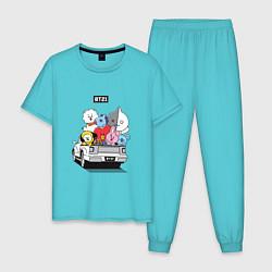 Пижама хлопковая мужская BT21 цвета бирюзовый — фото 1