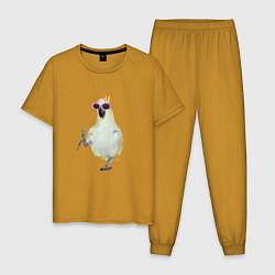Пижама хлопковая мужская Попугай в очках цвета горчичный — фото 1