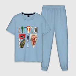 Пижама хлопковая мужская Little Big цвета мягкое небо — фото 1