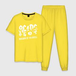 Пижама хлопковая мужская ACDC Highway to Hell цвета желтый — фото 1