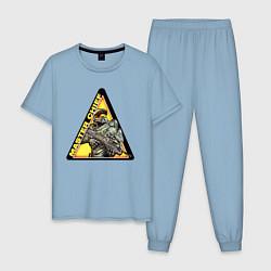Пижама хлопковая мужская Halo цвета мягкое небо — фото 1