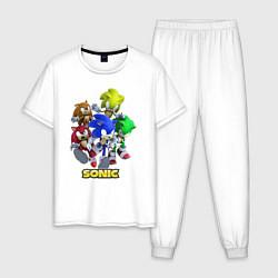 Пижама хлопковая мужская Sonik цвета белый — фото 1