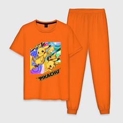 Пижама хлопковая мужская Pikachu цвета оранжевый — фото 1