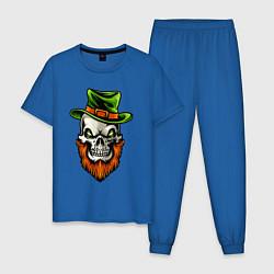 Пижама хлопковая мужская ДЕНЬ СВЯТОГО ПАТРИКА цвета синий — фото 1